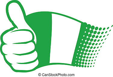 flag of nigeria hand showing thumbs up