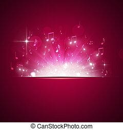 musik, noteringen,  explosion, röd, bakgrund