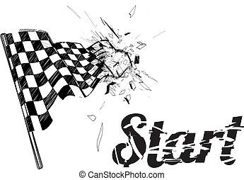 Drawing checkered flag in the dynamic style. Vector...