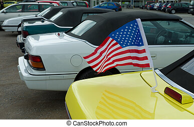 american flag on car - Round trip of Chrysler cars of the...