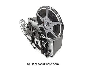 Retro Movie Projector Isolated - Retro movie film projector...