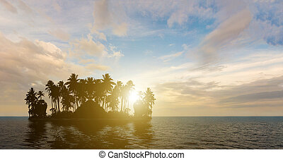 Tropical beach with coconut tree