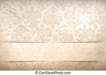 Vintage background with seamless pattern and banner -...