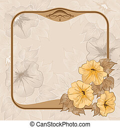 Ancient background with vintage frame and flowers