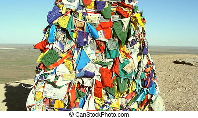 Tibetan prayer flags blowing in the wind