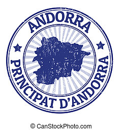 Andorra stamp - Grunge rubber stamp with the name and map of...