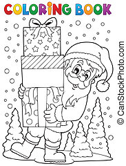 Coloring book Santa Claus topic 8 - eps10 vector...