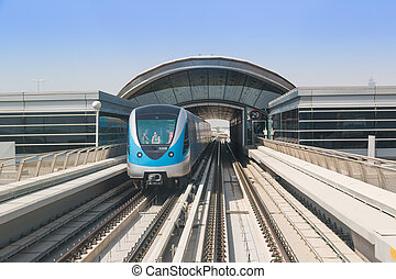 Dubai metro railway - DUBAI, UAE - NOVEMBER 14 - The...