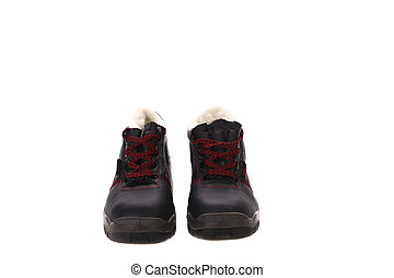 Winter man's boots. - Winter msn's boots. Isolated on a...