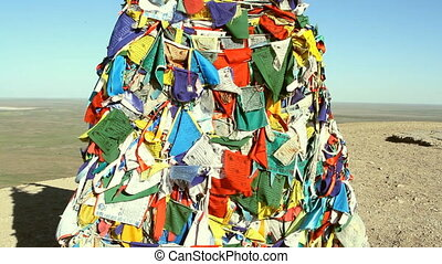 Tibetan prayer flags blowing in the