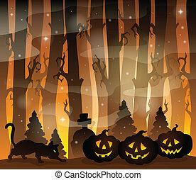 Mysterious forest theme image 4 - eps10 vector illustration