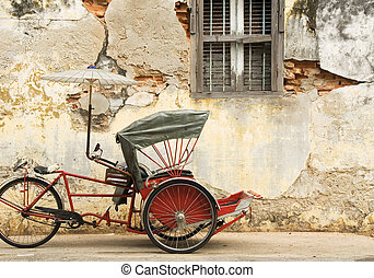 Old Red Trishaw, Penang, Malaysia - Old Red Trishaw, George...