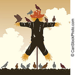 Scarecrow pigeons - Editable vector silhouette of a flock of...