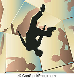 Parkour mirrors - Editable vector illustration of a young...
