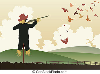 Armed scarecrow - Editable vector illustration of a...