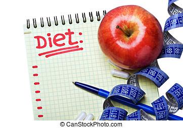 blocco note, dieta, piano