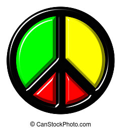 Colorful peace symbol isolated in white