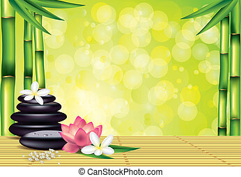Spa stones and flowers on bamboo background - Spa treatment...
