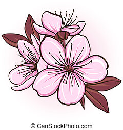 Cherry blossom Decorative floral illustration of sakura...