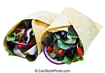 tortilla with meat and vegetables isolated