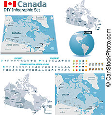 Canada maps with markers - Set of the political Canada maps,...