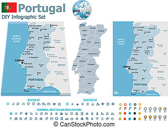 Portugal maps with markers - Set of the political Portugal...
