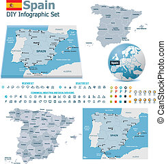 Spain maps with markers - Set of the political Spain maps,...