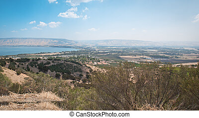 Sea of Galilee - View from Galilee Mountains to Galilee Sea,...