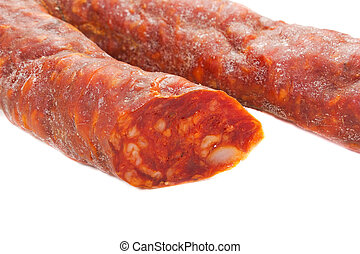 spicy salami on the white background