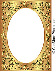 golden frame with floral border and transparent space insert