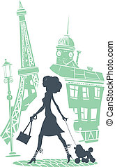 Girl with dog walking in the city Vector illustration