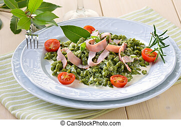 Spinach spaetzle - South Tyrolean spinach spaetzle with...