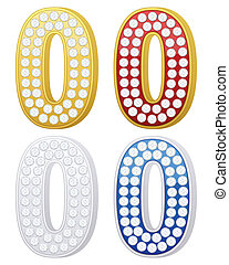jewelry number zero set on a white background Vector...