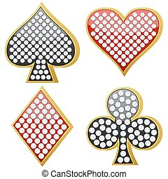 jewelry playing card symbol set on a white background....
