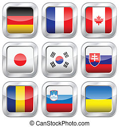 metal square national flags 3 - National flag button set on...
