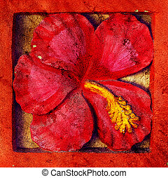 Image floral stone - red flower textured  stone background