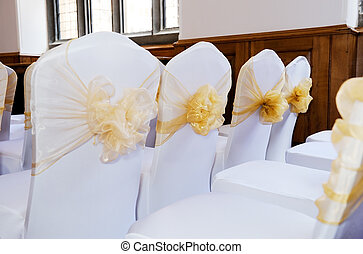 Wedding chair covers - Wedding ceremony chairs with white...