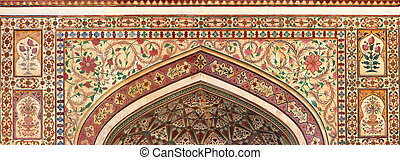 indian ornament - Jaipur India - indian ornament on wall of...