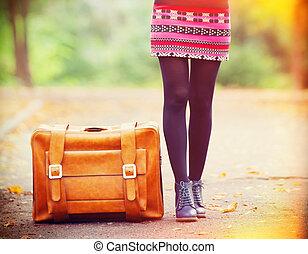 automne, valise,  foots, EXTÉRIEUR, femmes