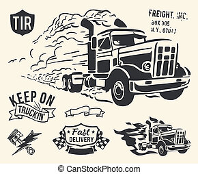 Vintage truck delivery theme - Isolated cargo theme on off...