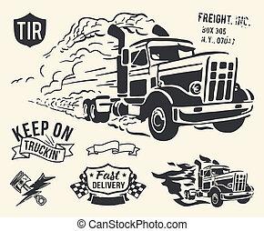 vendimia, camión, entrega, tema