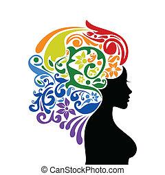 Woman a rainbow
