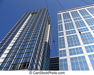 Business buildings in blue sky