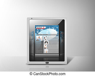 illustration of tablet pc with news app - business,...