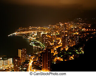 Monaco Cityscape by Night - Cityscape of the principality of...