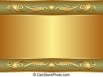 golden background with floral border and copy space