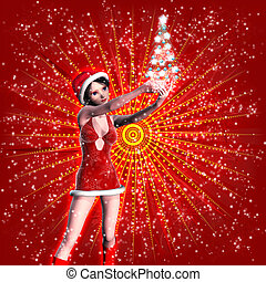 3d woman in Christmas dress - Illustration of 3d woman in...