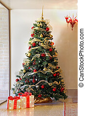Christmas tree - Tall Christmas tree with colorful ornaments...