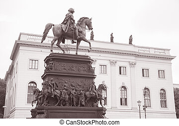 Frederick the Great Statue on Unter den Linden Street in...