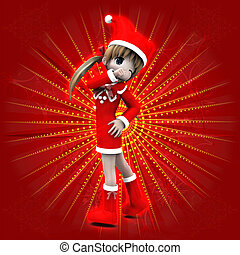 Anime girl in Christmas dress - Illustration of anime 3d...